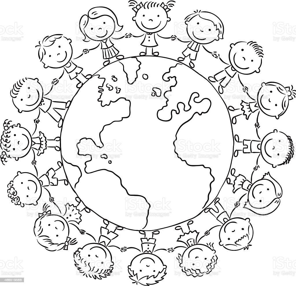 children round the globe outline stock vector art  u0026 more