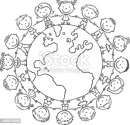 Children Round The Globe Outline Stock Vector Art & More