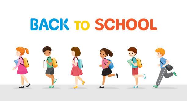 stockillustraties, clipart, cartoons en iconen met kinderen rennen en lopen terug naar school in row - schooltas