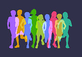 Colourful overlapping silhouettes of children playing