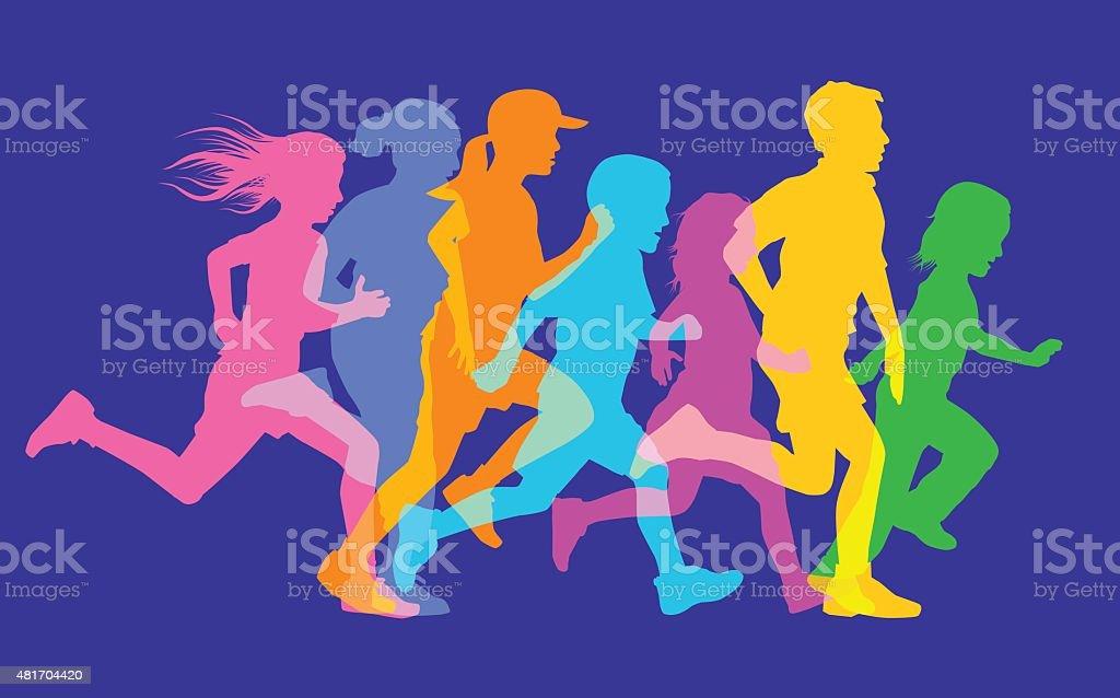 Children Running vector art illustration
