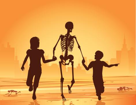 Children Running with a Skeleton