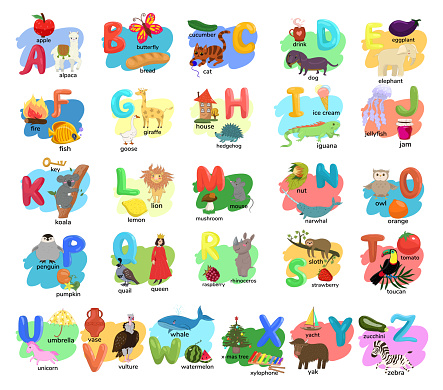 Children s alphabet with illustrations of animals, people, objects, food. Vector graphics.