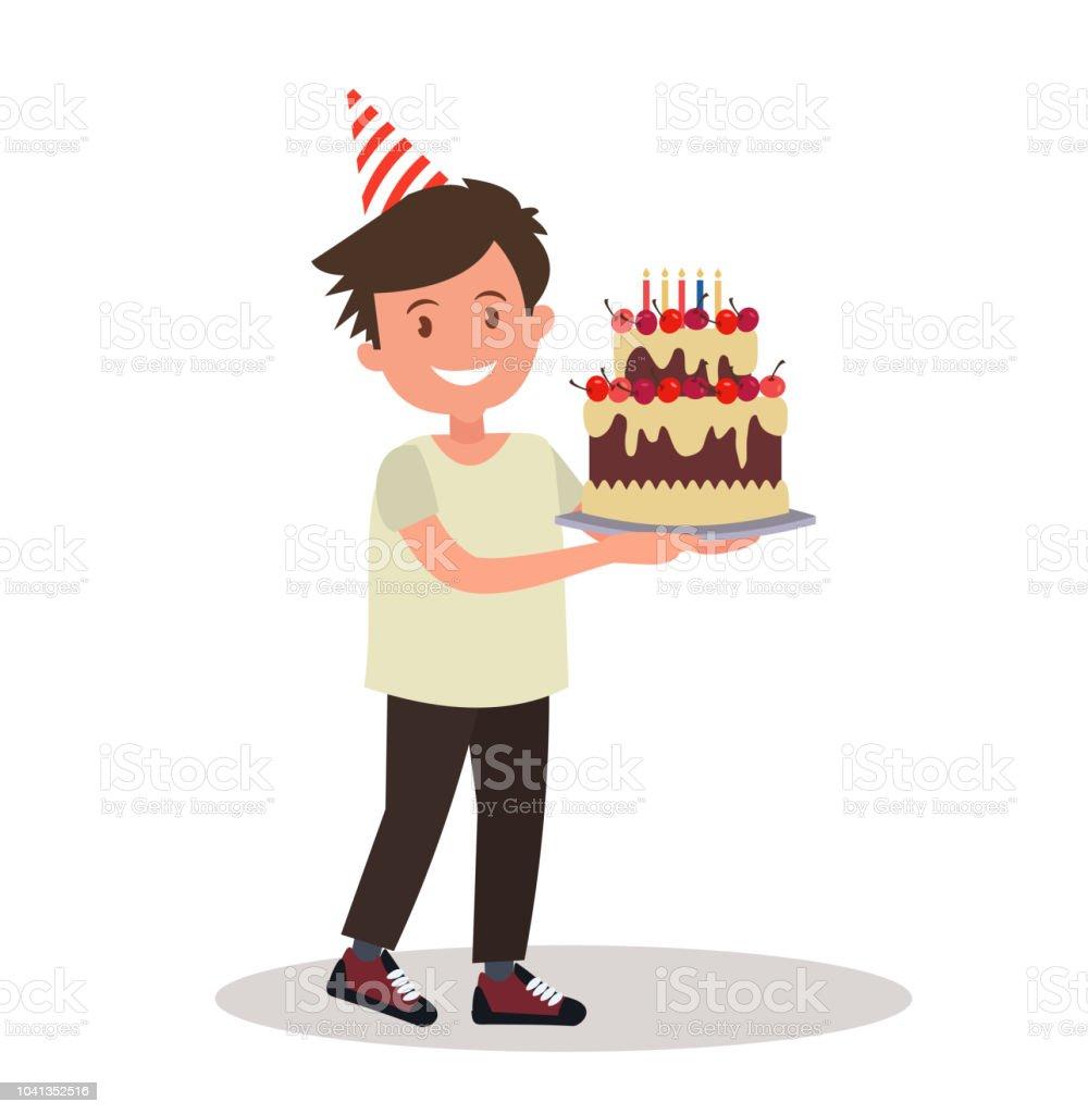 Kinder S Geburtstag Junge Halt Einen Grossen Kuchen Stock Vektor Art