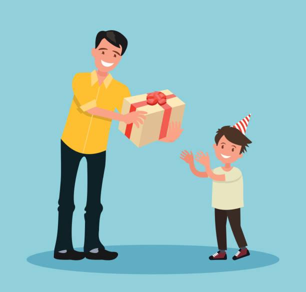 kinder s geburtstag. der vater schenkt seinem sohn ein geschenk zu seinem geburtstag. - elternhochzeitsgeschenke stock-grafiken, -clipart, -cartoons und -symbole