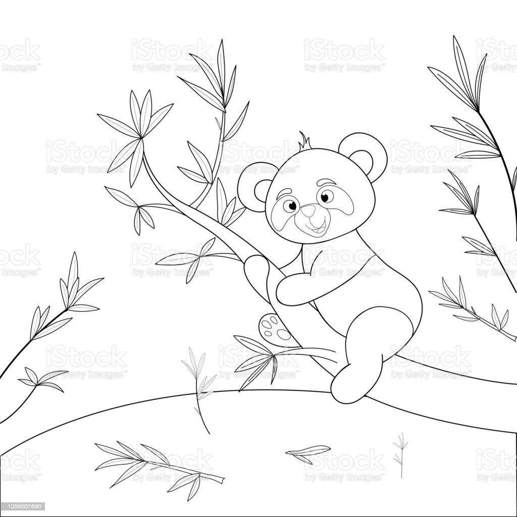 Boyama Kitabi Karikatur Hayvanlar Ile Cocuk S Sevimli Panda Okul