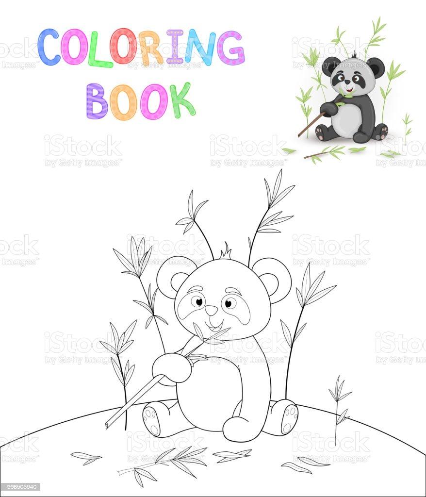Boyama Kitabı Karikatür Hayvanlar Ile çocuk S Sevimli Panda Okul