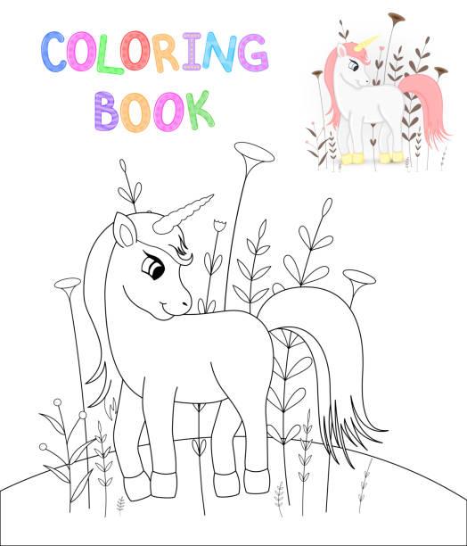 Children S Coloring Book With Cartoon Animals Educational Tasks For Preschool Cute Unicorn Vector