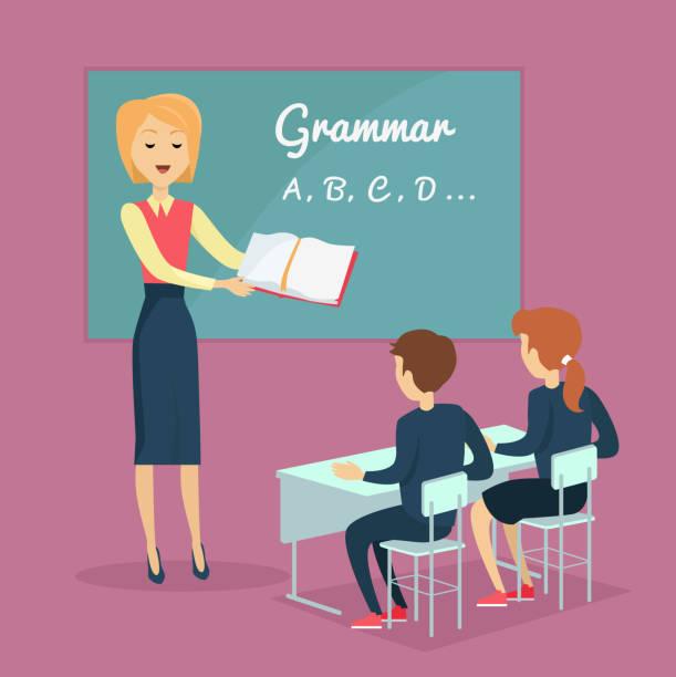 子供の文法指導イラスト - 語学の授業点のイラスト素材/クリップアート素材/マンガ素材/アイコン素材
