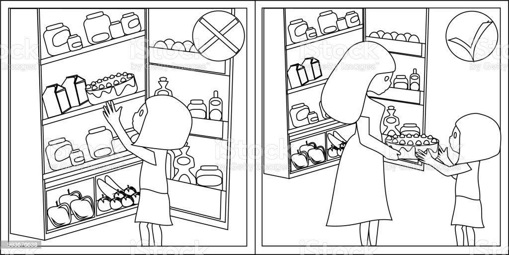 Ilustración de Seguridad De Los Niños Refrigerador Abierto Familias ...