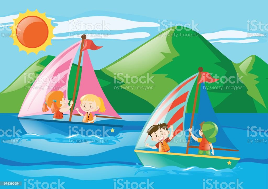 Children sailing boats in the sea royalty-free children sailing boats in the sea stock vector art & more images of art