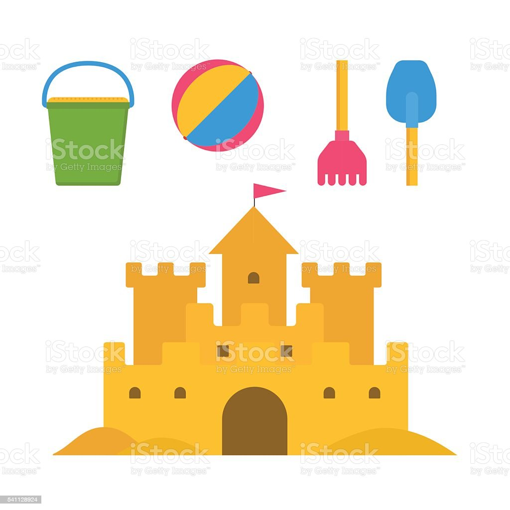 Children Sand Activities Set vector art illustration