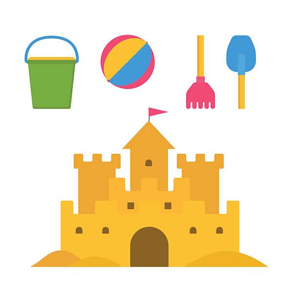 illustrations, cliparts, dessins animés et icônes de sable activités pour les enfants - chateau de sable