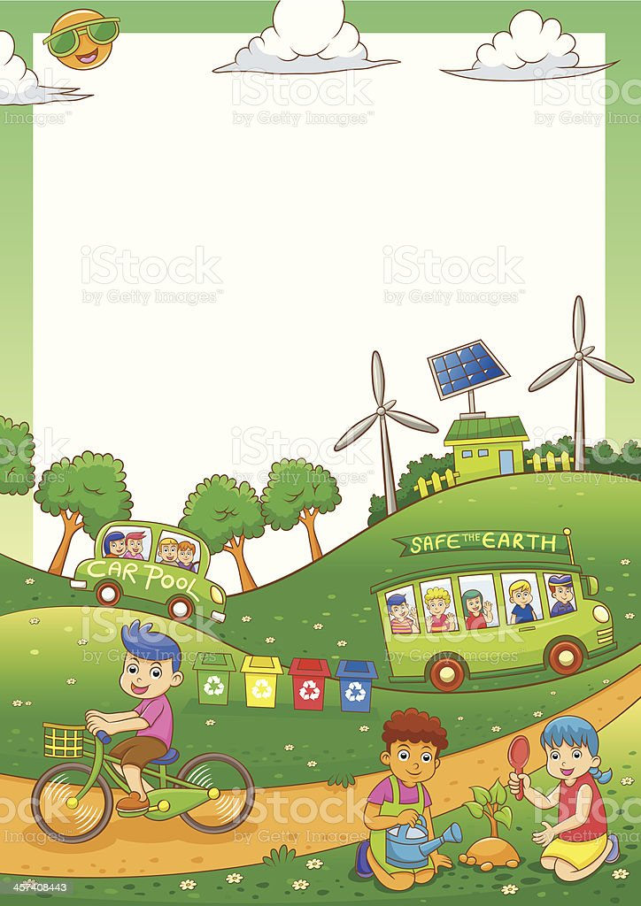 Children Save Our Green World Stock Vector Art More Images Of