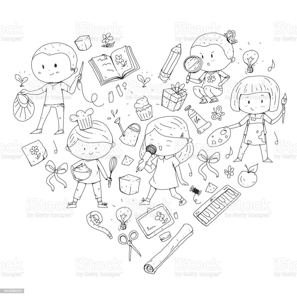 Kinder Schule Und Kindergarten Kreativität Und Bildung Musik ...
