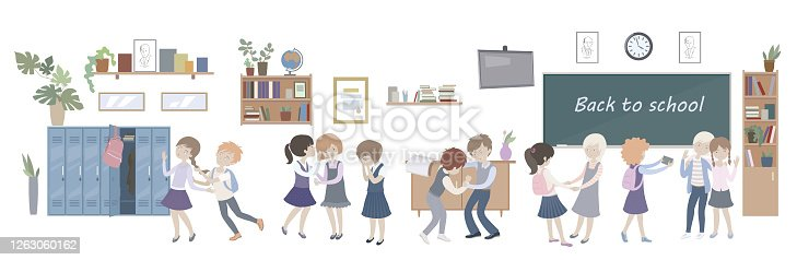 Children school behavior image. Teenager communication concept. Kids relationships. Best friends and enemies. Boys fighting. Vector illustration in flat cartoon style isolated on white background.