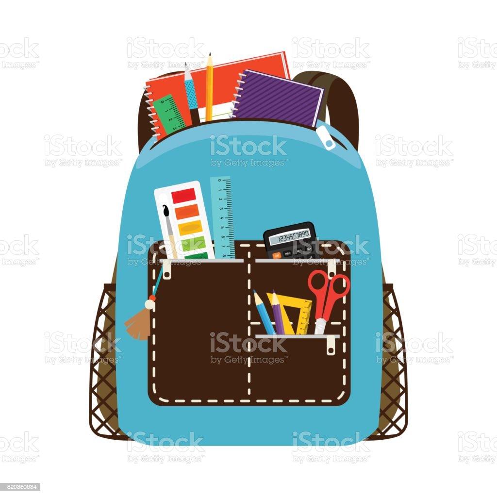 Kinder Schule Blaue Tasche Zu Packen Stock Vektor Art und mehr ...
