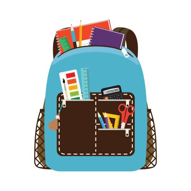 Bекторная иллюстрация Children school blue bag pack
