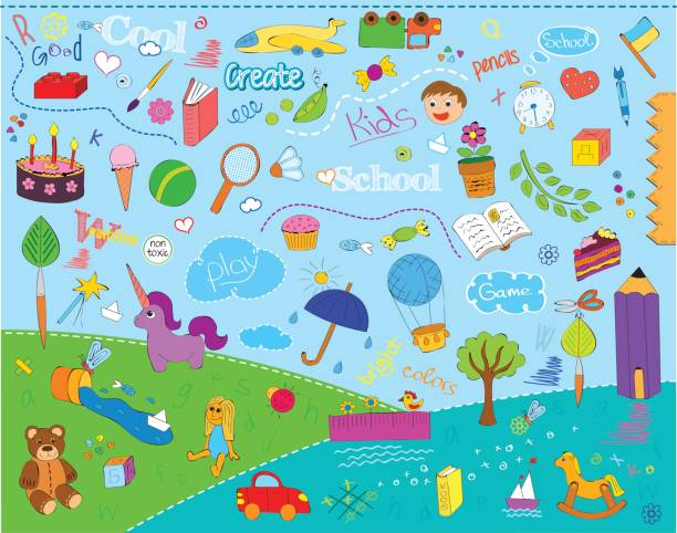 kinder schule muster - schulbedarfskuchen stock-grafiken, -clipart, -cartoons und -symbole
