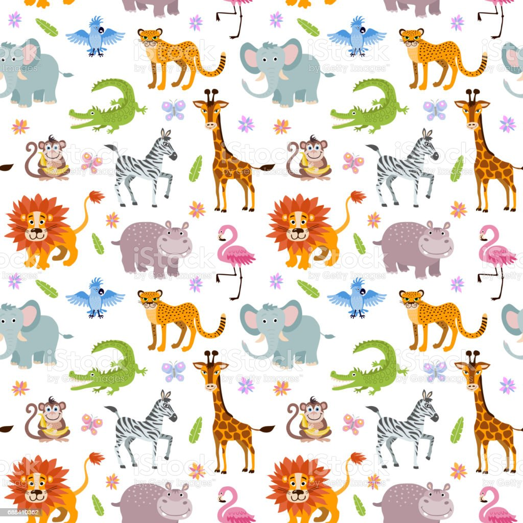 Children seamless vector wallpaper with cute and funny baby savanna animals vector art illustration