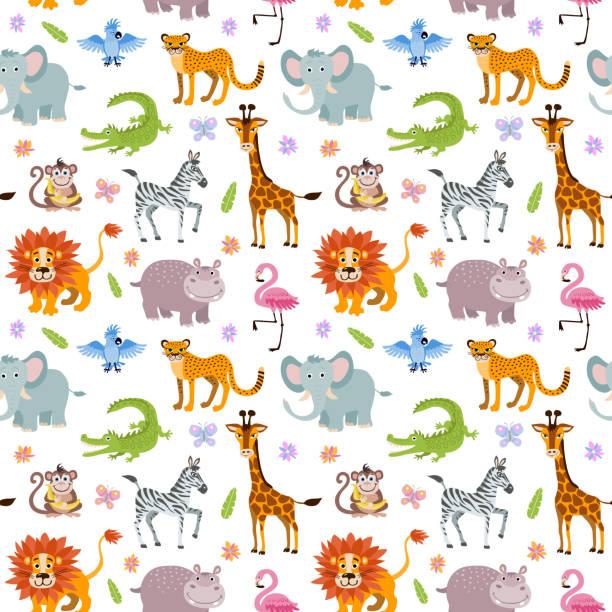 kinder nahtloser vektor-tapete mit netten und lustigen savanne tierbabys - giraffenhumor stock-grafiken, -clipart, -cartoons und -symbole