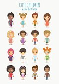 Set of vector cute children isolated on white background. Different nationalities and dress styles.