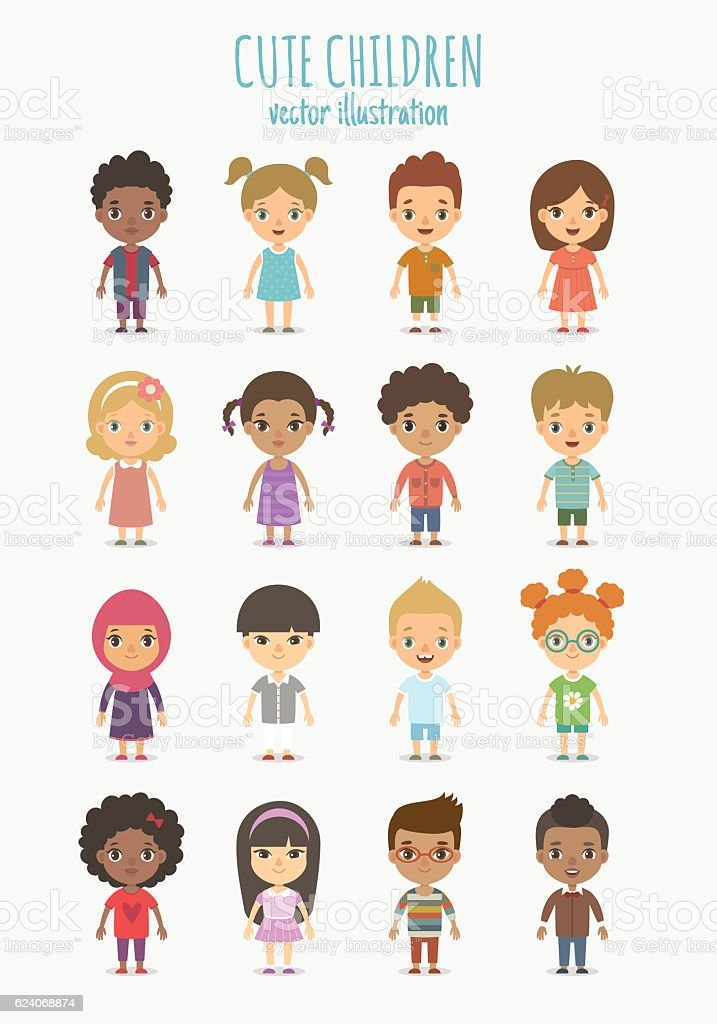 Children set vector art illustration