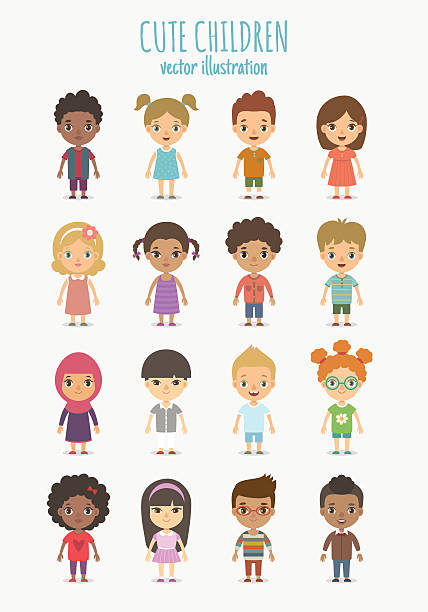 children set - cartoon kids stock illustrations, clip art, cartoons, & icons