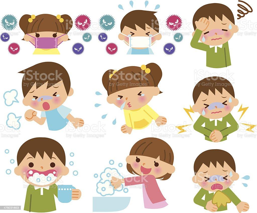 Children sick common cold vector art illustration