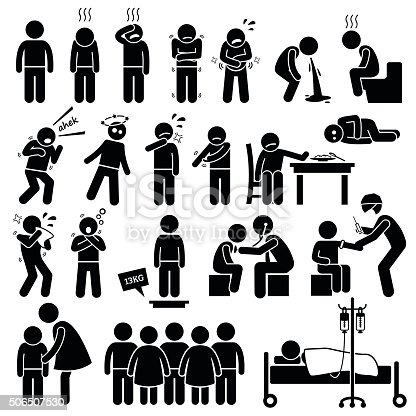Illustrations showing children getting sick with symptoms. The boy is having a checkup by a doctor and getting an injection. He is isolated from other children so that the flu does not infect others.