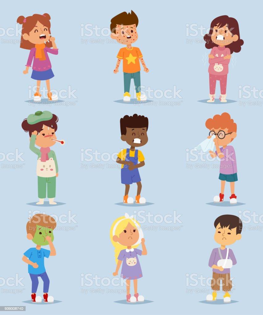 Kleine Kinder Kinder Krankheit Krankheit Krankheit Zeichen Gesetzt ...