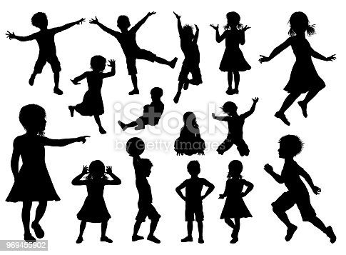 A high quality detailed set of kids or children in silhouette playing and having fun