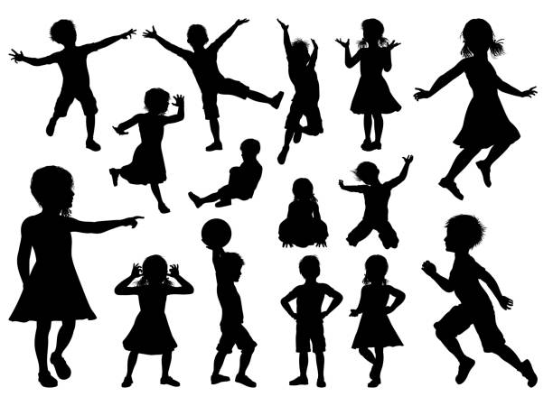 Children Silhouette Set A high quality detailed set of kids or children in silhouette playing and having fun jumping stock illustrations
