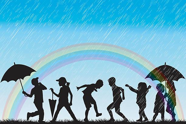 children silhouettes enjoy the rain - kids playing in rain stock illustrations, clip art, cartoons, & icons