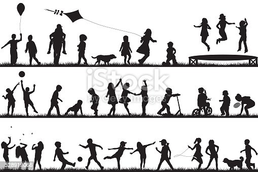 Children Silhouettes Playing Outdoor Stock Vector Art