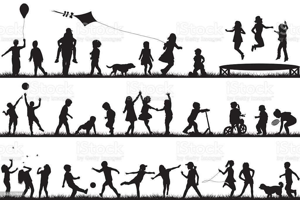 Children silhouettes playing outdoor vector art illustration