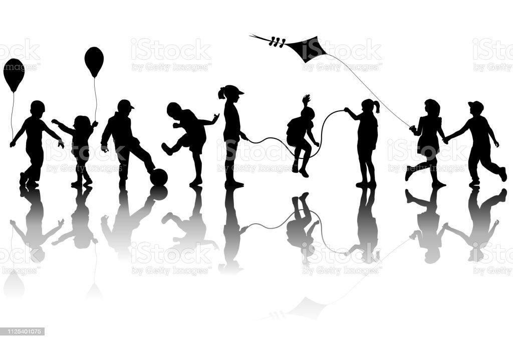 Siluetas de niños jugando con una cometa y globos ilustración de siluetas de niños jugando con una cometa y globos y más vectores libres de derechos de actividad móvil general libre de derechos