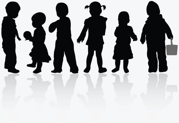 kinder silhouetten - toddler stock-grafiken, -clipart, -cartoons und -symbole