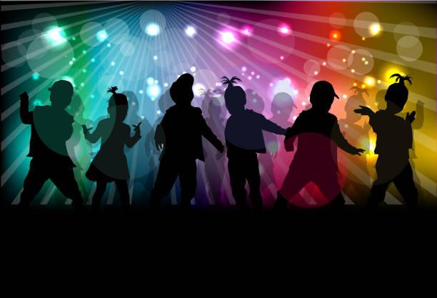 bildbanksillustrationer, clip art samt tecknat material och ikoner med children silhouettes - dansa disco