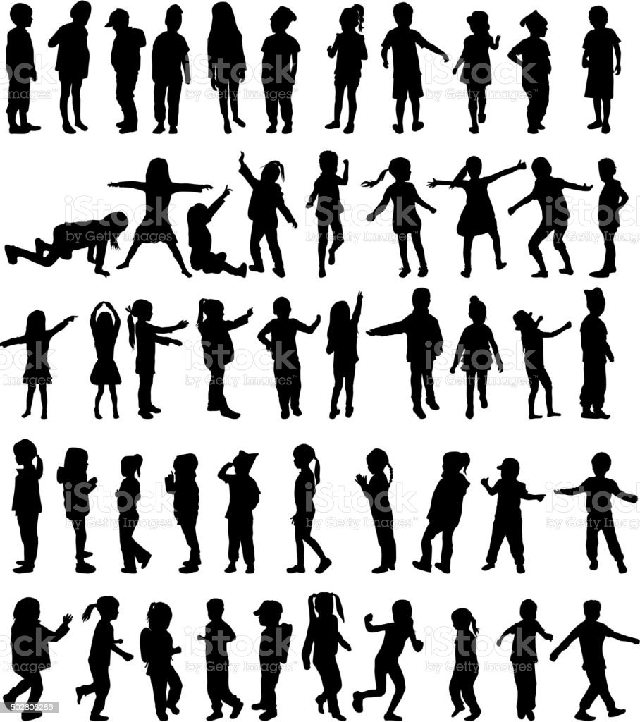 Children silhouettes vector art illustration