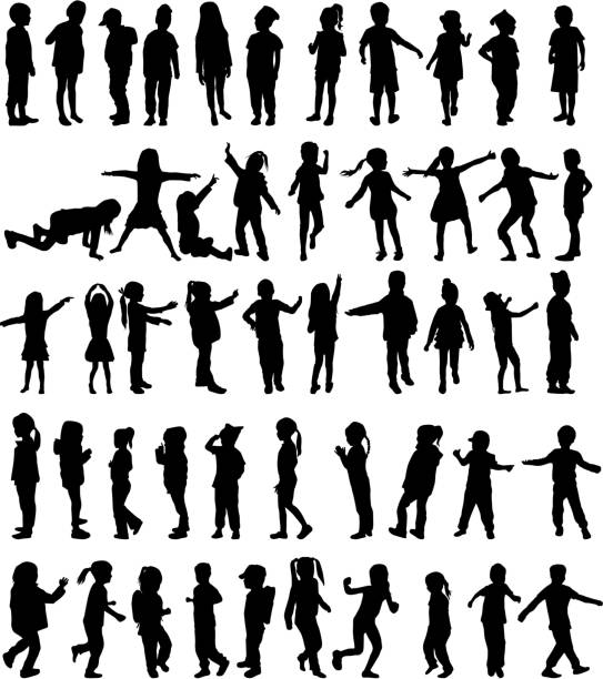 stockillustraties, clipart, cartoons en iconen met children silhouettes - meisjes