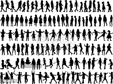 istock Children silhouettes. Vector work. 1180800143