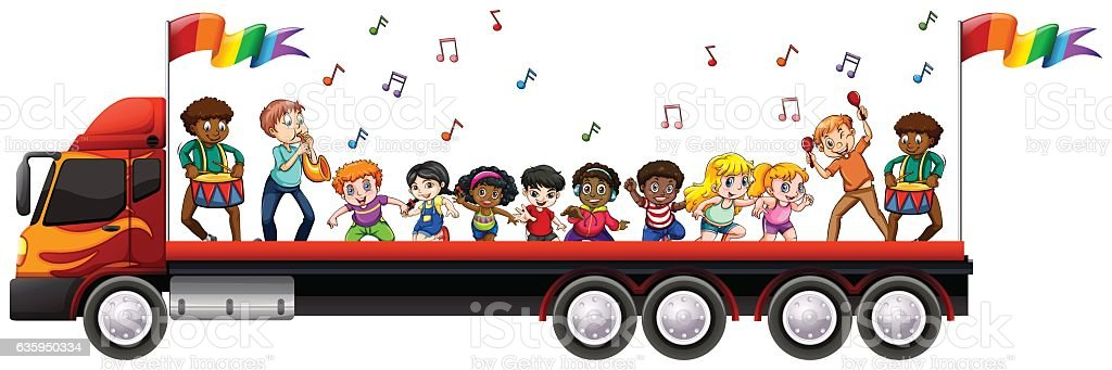 Children singing and dancing on the truck vector art illustration