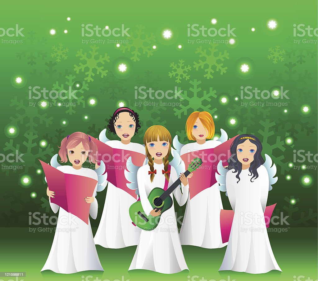 Children Singing Caroling Christmas Vector Illustration royalty-free children singing caroling christmas vector illustration stock vector art & more images of acoustic guitar