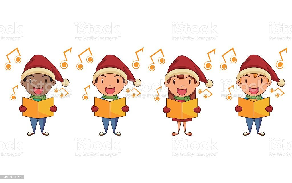 Children singing christmas carols vector art illustration