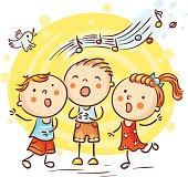 Children singing songs, colorful cartoon