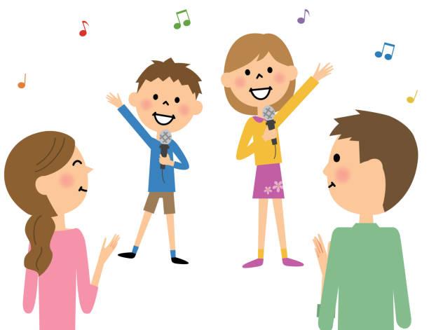 歌を歌う子供 - 母娘 笑顔 日本人点のイラスト素材/クリップアート素材/マンガ素材/アイコン素材