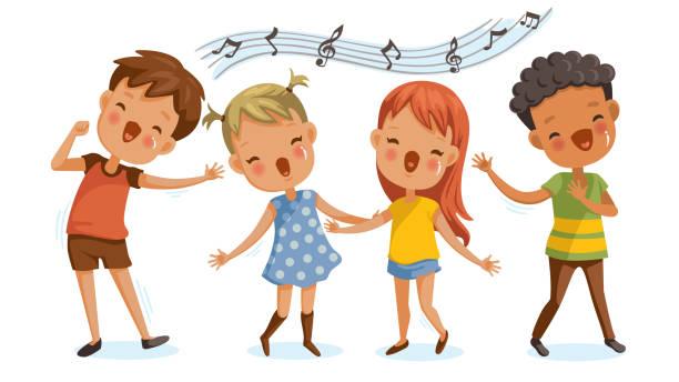stockillustraties, clipart, cartoons en iconen met kinderen zingen - zingen