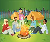 Children Sitting Around Camp Fire Talking and Laughing