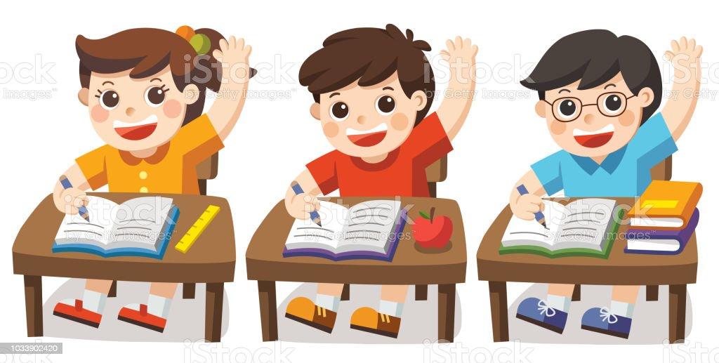 대답 학교 책상 및 손에서 앉아 아이 들 학생 클래스에서 손입니다 가정의 방에 대한 스톡 벡터 아트 및 ...